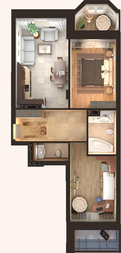 Жилой Комплекс «Красен Хаус» - Квартира №2, 3-комнатная студия, 64.31м2