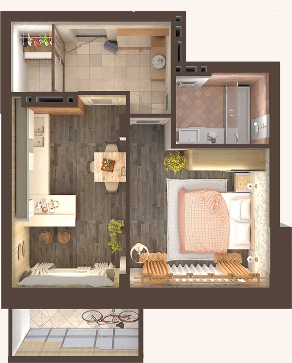 Жилой Комплекс «Красен Хаус» - Квартира №3, 1-комнатная, 38.88м2