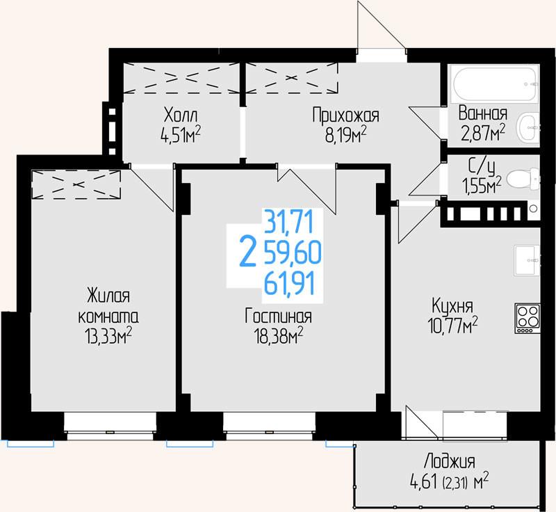 Жилой Комплекс «Красен Хаус» - Квартира №6, 2-комнатная, 59.6м2