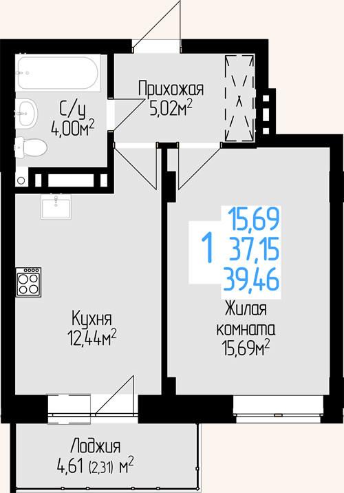 1-комнатная квартира 37.15м2 ЖК Красен Хаус
