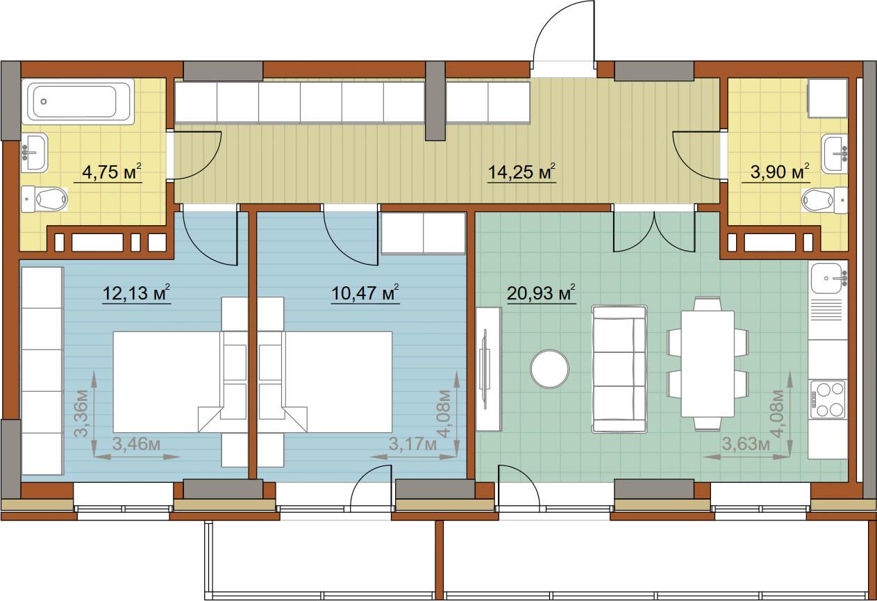 3-комнатная квартира 68.43м2 ЖК Островский