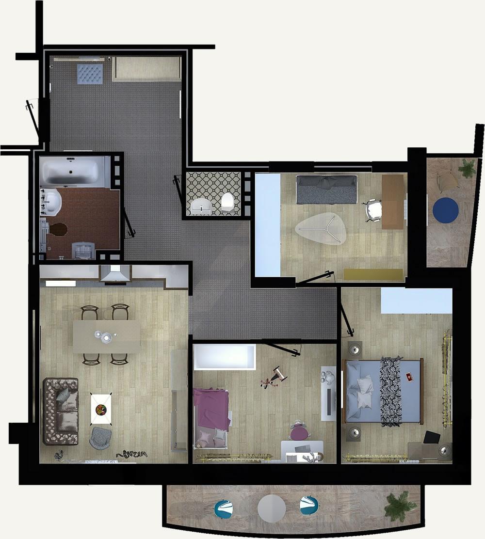 Жилой Комплекс «Калининский-2» - Квартира №1, 4-комнатная студия, 85.41м2