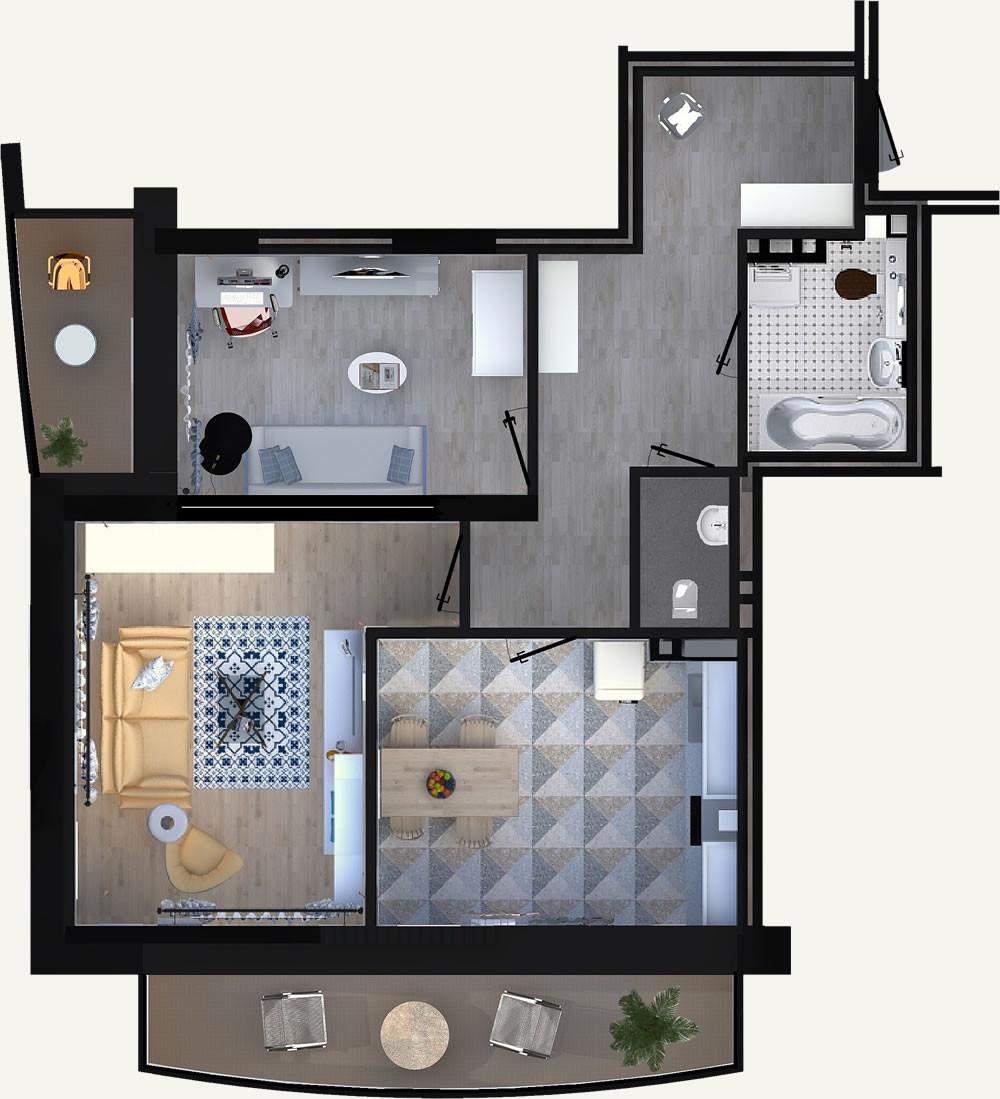 2-комнатная квартира 60.85м2 ЖК Калининский 2