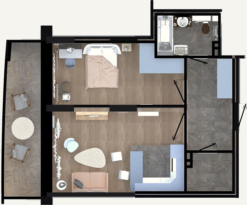 2-комнатная квартира 49.65м2 ЖК Калининский 2
