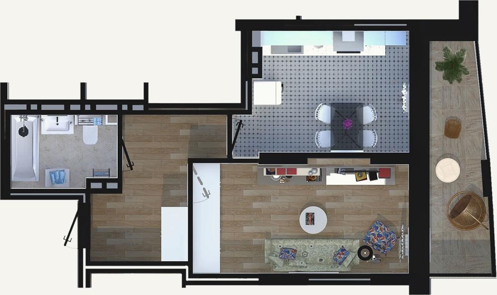1-комнатная квартира 38.41м2 ЖК Калининский 2