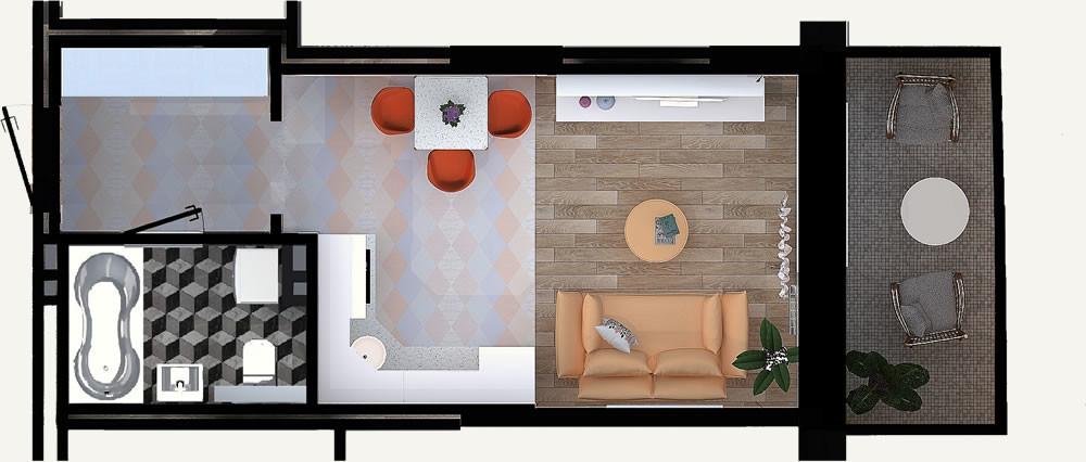 Жилой Комплекс «Калининский-2» - Квартира №9, 1-комнатная студия, 26.53м2