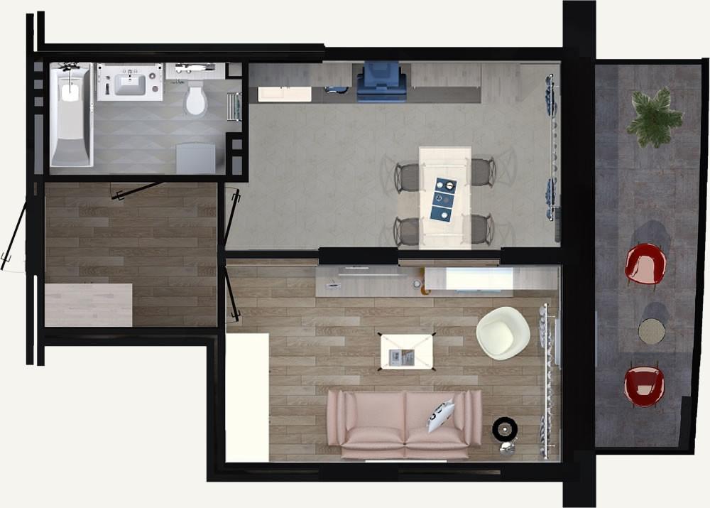 1-комнатная квартира 38.95м2 ЖК Калининский 2