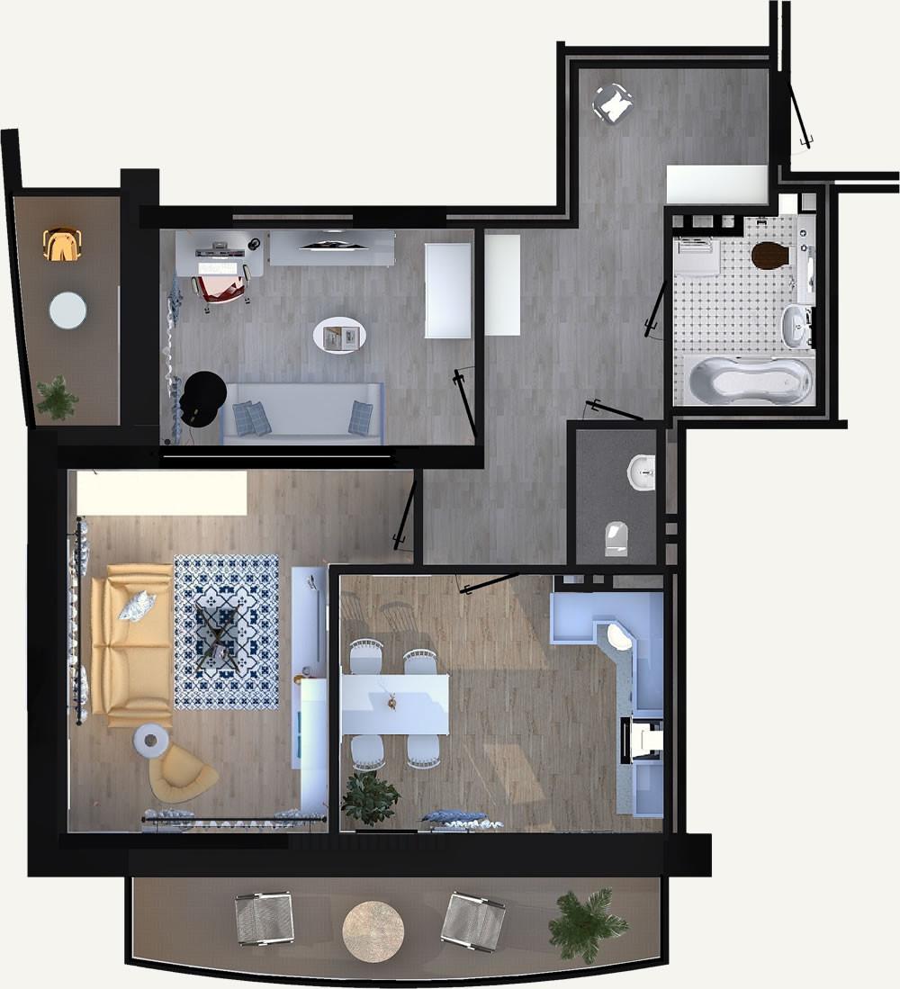 Жилой Комплекс «Калининский-2» - Квартира №13, 2-комнатная, 60.85м2