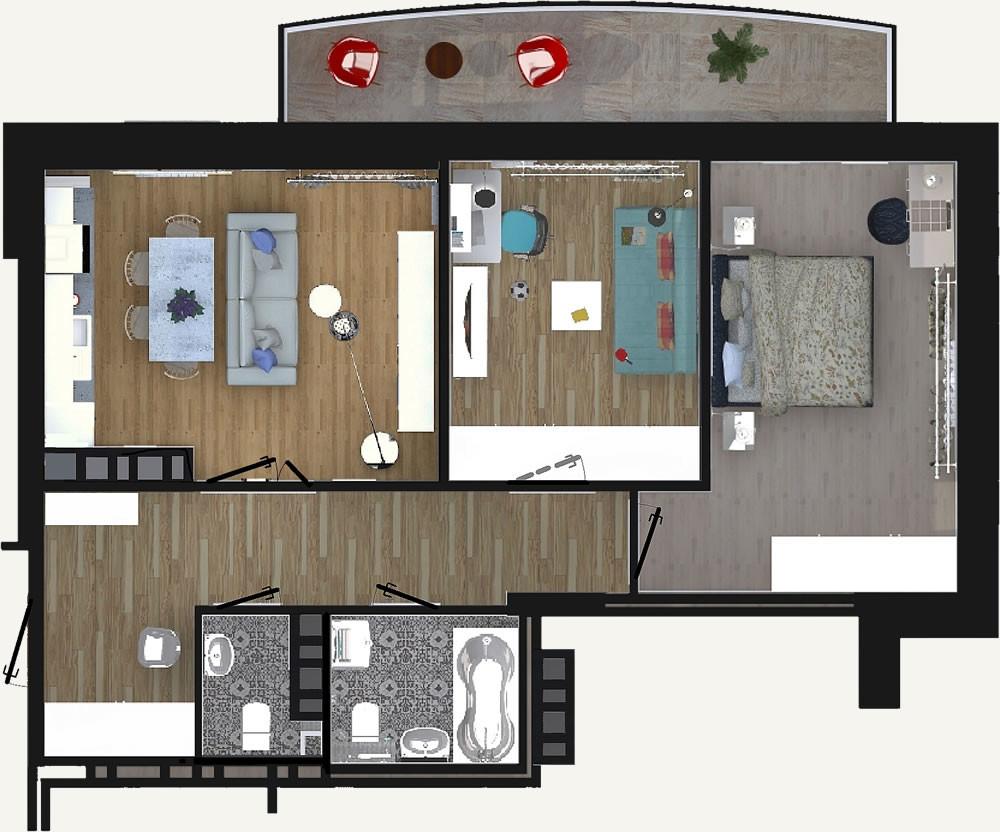 3-комнатная квартира 63.92м2 ЖК Калининский 2