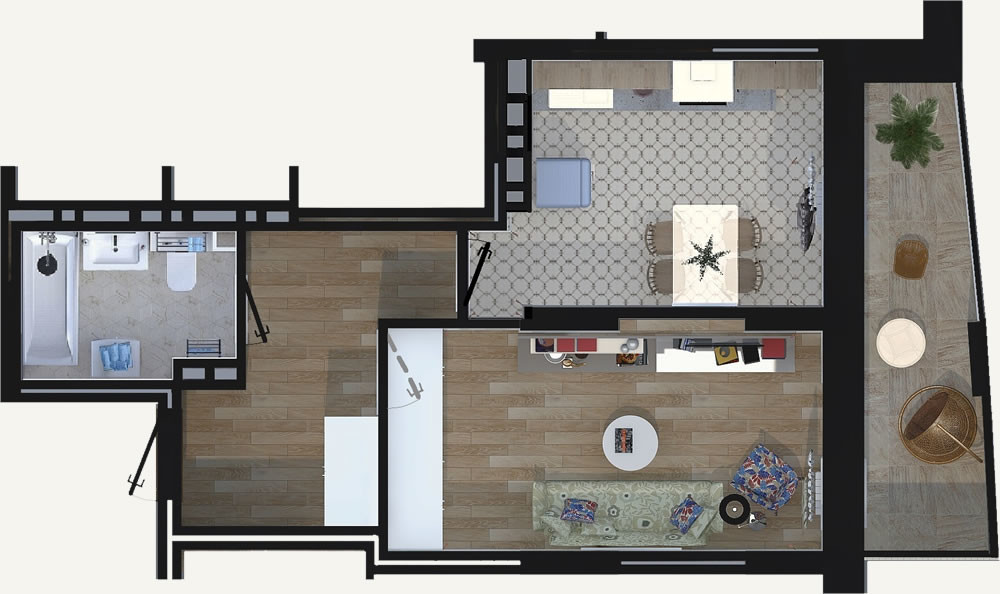 Жилой Комплекс «Калининский-2» - Квартира №28, 1-комнатная, 37.95м2