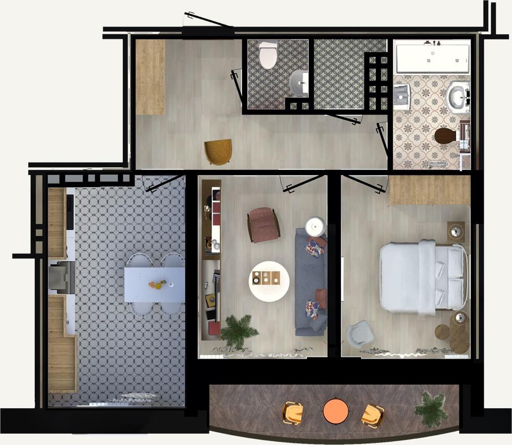 2-комнатная квартира 58.51м2 ЖК Калининский 2