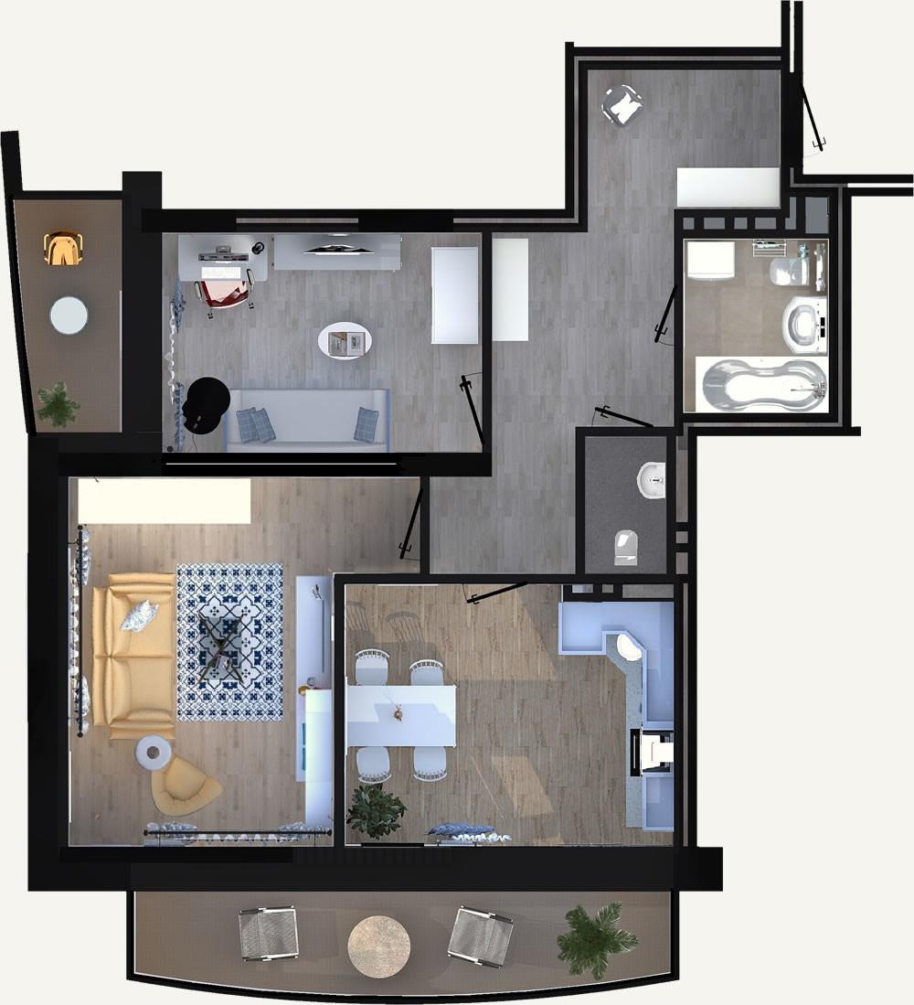 2-комнатная квартира 60.38м2 ЖК Калининский 2