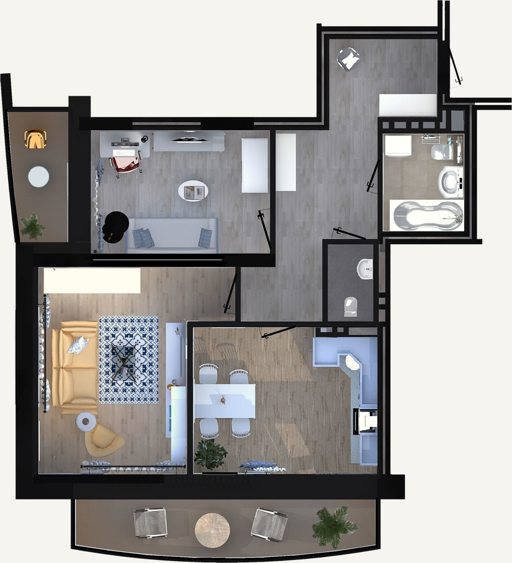 Жилой Комплекс «Калининский-2» - Квартира №53, 2-комнатная, 60.38м2