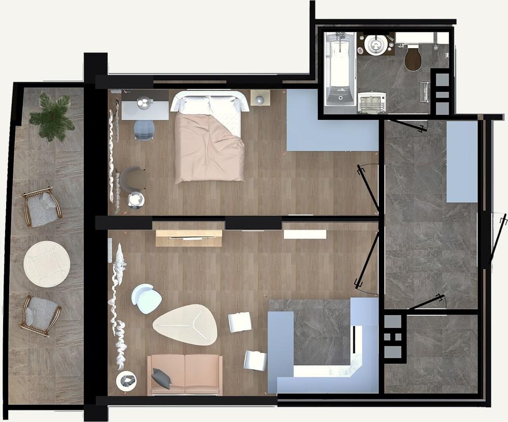 Жилой Комплекс «Калининский-2» - Квартира №165, 2-комнатная студия, 49м2