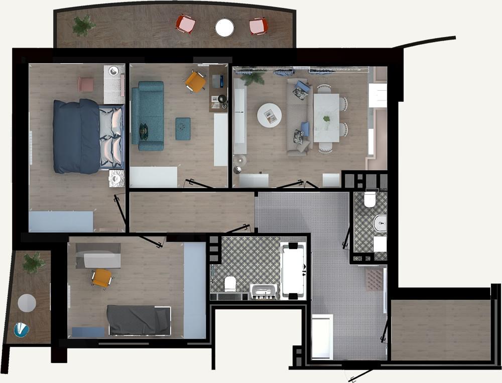 4-комнатная квартира 85.87м2 ЖК Калининский 2