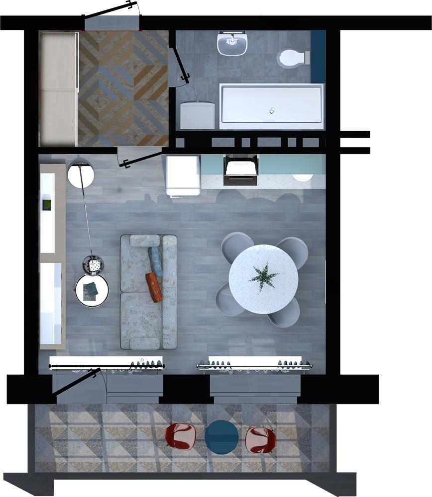 1-комнатная квартира 27.56м2 ЖК Apart River