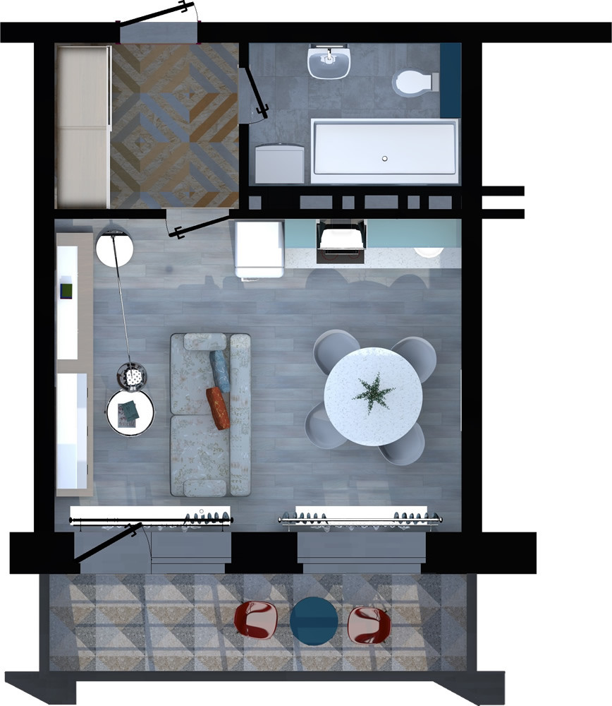 Жилой комплекс «ApartRiver» - Апартаменты №160, Студия, 27.54м2