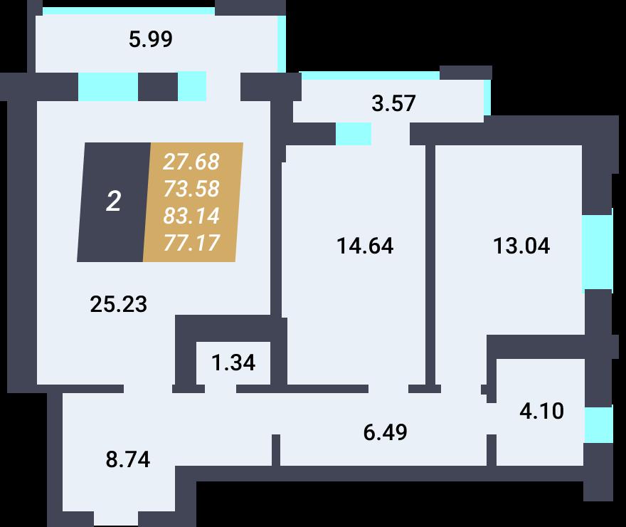 Жилой Комплекс «Калининский-3» - Квартира №9, 2-комнатная, 73.58м2