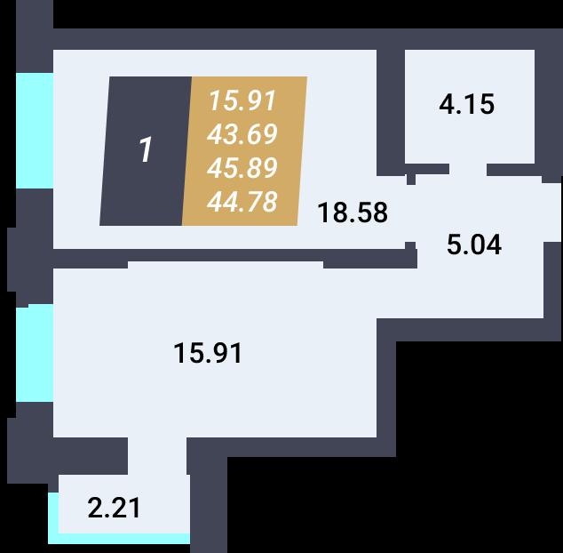 Жилой Комплекс «Калининский-3» - Квартира №55, 1-комнатная, 43.68м2