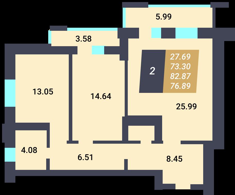 Жилой Комплекс «Калининский-3» - Квартира №8, 2-комнатная, 73.3м2