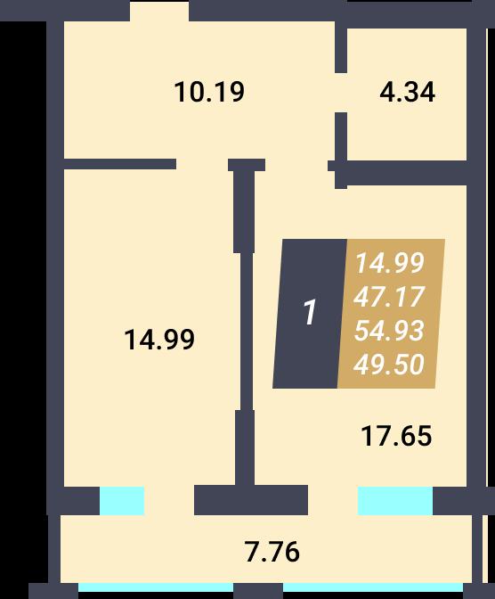 Жилой Комплекс «Калининский-3» - Квартира №83, 1-комнатная, 47.17м2