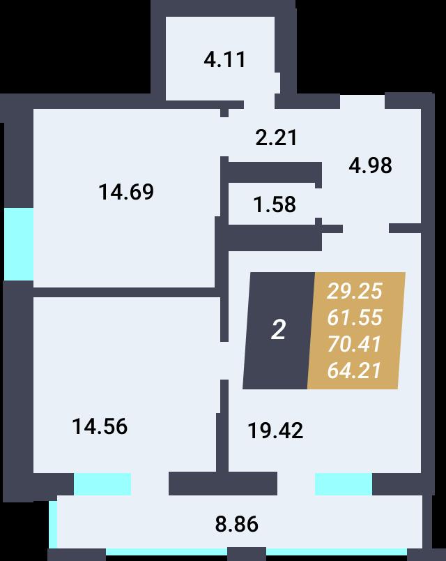 Жилой Комплекс «Калининский-3» - Квартира №126, 2-комнатная, 61.55м2
