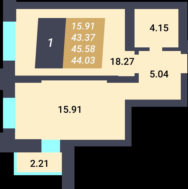 Жилой Комплекс «Калининский-3» - Квартира №85, 1-комнатная, 43.37м2