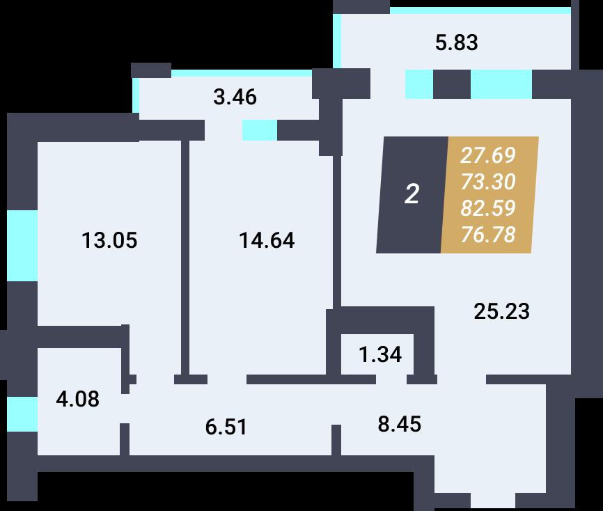 Жилой Комплекс «Калининский-3» - Квартира №114, 2-комнатная, 73.3м2