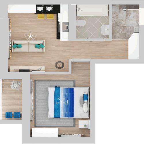 Жилой комплекс «Гранит» - Квартира №8, 1-комнатная, 36.52м2