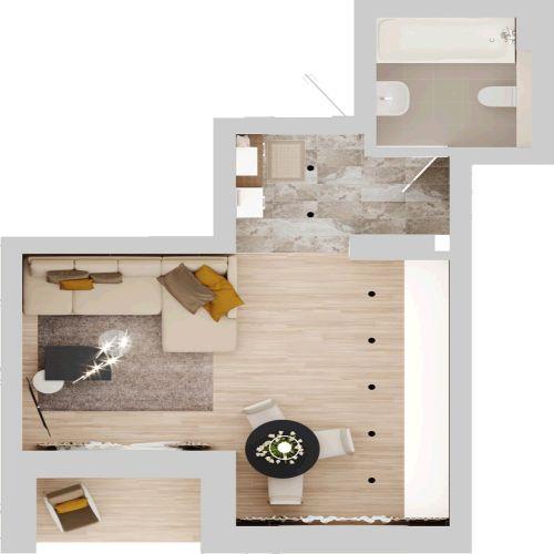 Жилой комплекс «Гранит» - Квартира №63, Студия, 27.55м2