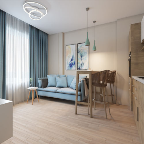 Жилой комплекс «Гранит» - Квартира №40, 3-комнатная студия, 77.15м2