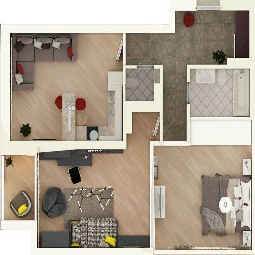 Жилой комплекс «Гранит» - Квартира №83, 3-комнатная студия, 76.44м2