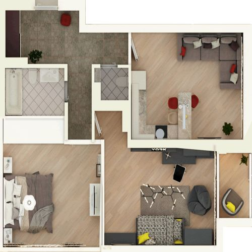 Жилой комплекс «Гранит» - Квартира №152, 3-комнатная студия, 76.67м2
