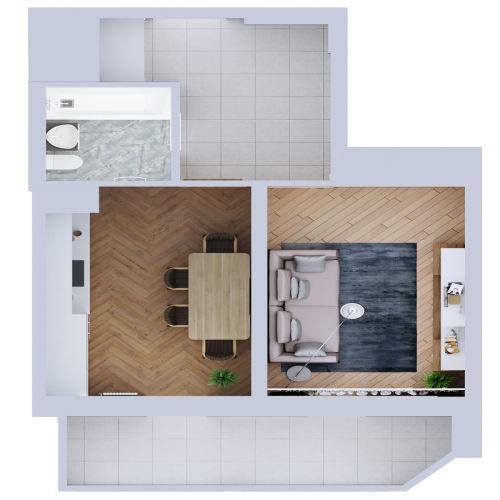 Жилой комплекс «Ломоносов» - Квартира №7, 1-комнатная, 40.1м2