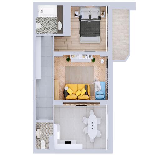 Жилой комплекс «Ломоносов» - Квартира №128, 2-комнатная, 60.37м2