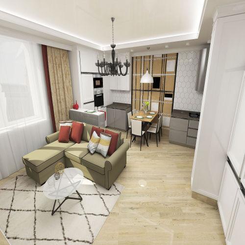 Жилой комплекс «Островский» - Квартира №367, 3-комнатная студия, 76.82м2