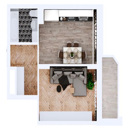 Жилой комплекс «Ломоносов» - Квартира №66, 1-комнатная, 35.71м2