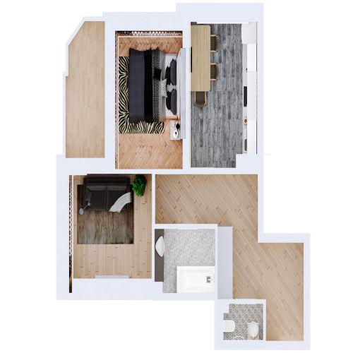 Жилой комплекс «Ломоносов» - Квартира №184, 2-комнатная, 54.68м2