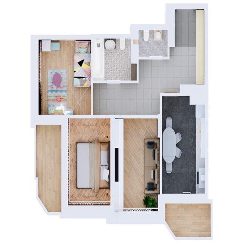 Жилой комплекс «Ломоносов» - Квартира №150, 3-комнатная, 70.89м2