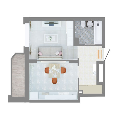 Жилой комплекс «Ломоносов» - Квартира №151, 1-комнатная, 37.02м2