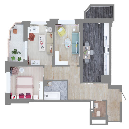 Жилой комплекс «Ломоносов» - Квартира №45, 3-комнатная, 72.9м2