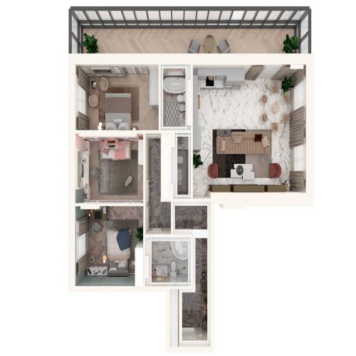 Жилой комплекс «Михайловский» - Квартира №36, 4-комнатная студия, 132.61м2