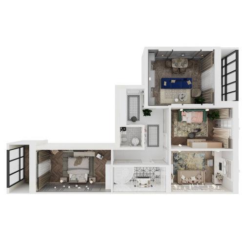 Жилой комплекс «Михайловский» - Квартира №133, 3-комнатная, 101.48м2