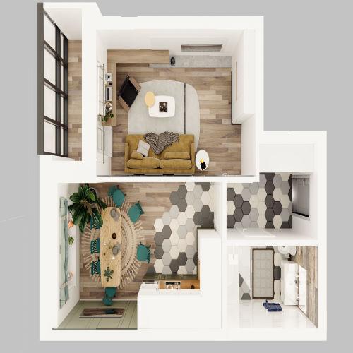 ЖК «Чкалов» - Квартира №2, 1-комнатная, 40.12м2