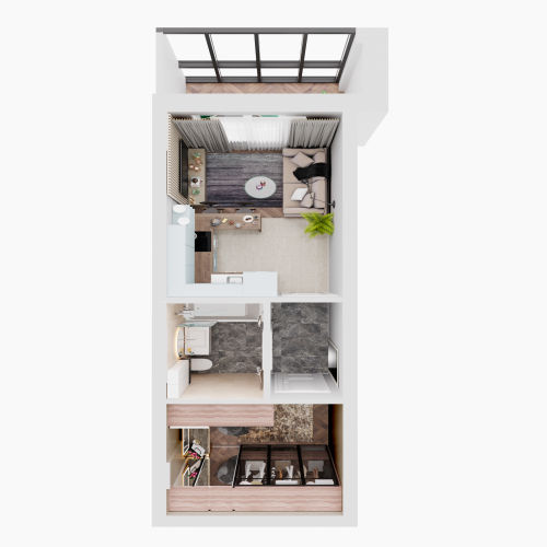 ЖК «Чкалов» - Квартира №14, Студия, 28.3м2