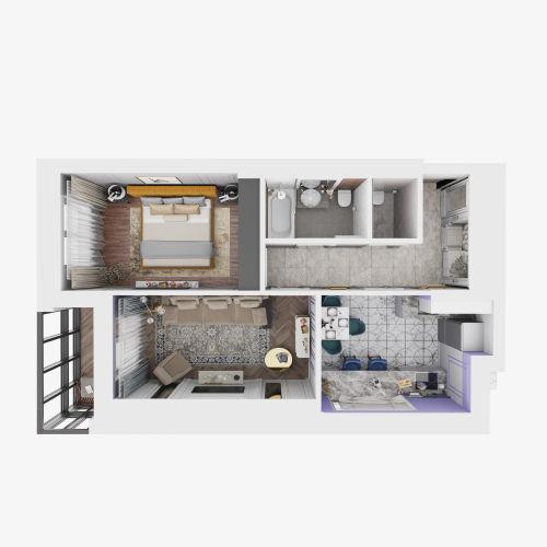 ЖК «Чкалов» - Квартира №15, 2-комнатная, 53.58м2