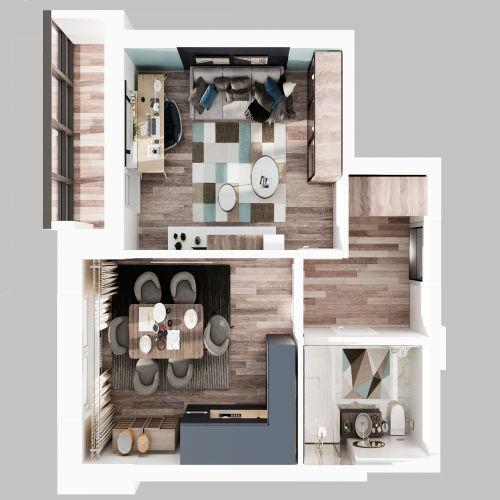 ЖК «Чкалов» - Квартира №101, 1-комнатная, 40.48м2