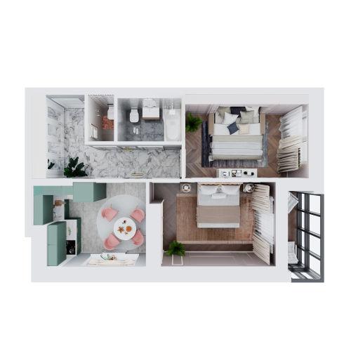 ЖК «Чкалов» - Квартира №77, 2-комнатная, 53.3м2