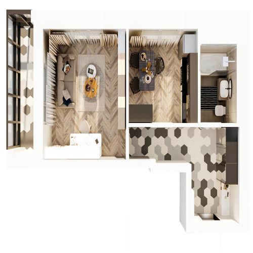 ЖК «Чкалов» - Квартира №123, 1-комнатная, 38.62м2
