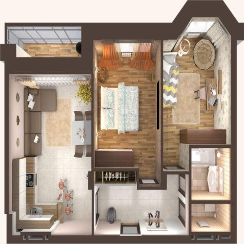 Жилой Комплекс «Красен Хаус» - Квартира №1, 2-комнатная, 56.95м2
